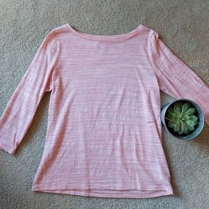 Talbots Pink Wide Neck 3/4 Sleeve Top